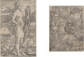 Fine Art - Work on Paper:Print, Heinrich Aldegrever (German). Momento Mori and Lot andhis Daughters (two works). Etching, each. 4-1/2 x 3 inches(s...