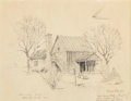 """Fine Art - Work on Paper:Drawing, Edward Muegge """"Buck"""" Schiwetz (American, 1898-1984). The StormHouse, 1969. Pencil on paper. 8 x 10-1/4 inches (20.3 x 2..."""