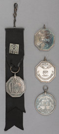 Silver Smalls, A Group of Four Harvard Silver Medals, early 20th century. 6-1/4inches long (15.9 cm) (badge). 4.46 troy ounces. ... (Total: 4Items)