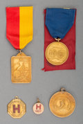 Silver & Vertu:Smalls & Jewelry, A Group of Five Harvard and Yale Track and Field 10K, 14K, 18K and Rolled Gold Badges and Medals, 20th century. 1-1/2 inches... (Total: 5 Items)