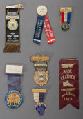 Paintings, A Collection of Labor Union Related Badges and Ribbons, 19th/20th century. 6-1/4 inches long (15.9 cm) (largest, imaged). ... (Total: 79 Items)
