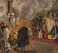 Fine Art - Painting, European:Modern  (1900 1949)  , Georg Poppe (German, 1883-1963). Joan of Arc burning at thestake, 1915. Oil on canvas. 11-1/8 x 12-3/4 inches (28.3 x 3...