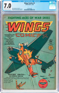 Golden Age (1938-1955):War, Wings Comics #3 (Fiction House, 1940) CGC FN/VF 7.0 Off-white towhite pages....