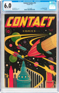 Golden Age (1938-1955):Science Fiction, Contact Comics #12 (Aviation Press, 1946) CGC FN 6.0 Off-white towhite pages....