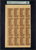 Fractional Currency:First Issue, Fr. 1281 25¢ First Issue Uncut Sheet of Twenty PMG Superb Gem Uncirculated 67 EPQ. . ...
