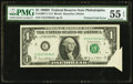 Error Notes:Foldovers, Fr. 1907-C $1 1969D Federal Reserve Note. PMG About Uncirculated 55EPQ.. ...