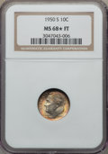 Roosevelt Dimes, 1950-S 10C MS68 ★ Full Bands NGC. NGC Census: (5/0). PCGS Population: (4/0). Mintage 20,...