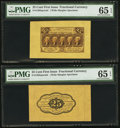 Fractional Currency:First Issue, Fr. 1282SP 25¢ First Issue Wide Margin Pair PMG Gem Uncirculated 65EPQ.. ... (Total: 2 notes)