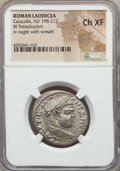 Ancients:Roman Provincial , Ancients: SYRIA. Laodicea. Caracalla (AD 198-217). BI tetradrachm.NGC Choice XF....