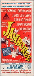 """Movie Posters:Rock and Roll, Jamboree & Other Lot (Warner Brothers, 1957). Australian Daybill (13.25"""" X 30"""") & Lobby Cards (3) (11"""" X 14""""). Rock and Roll... (Total: 4 Items)"""