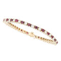 Estate Jewelry:Bracelets, Diamond, Ruby, Gold Bracelet. . ...