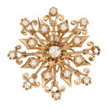 Estate Jewelry:Brooches - Pins, Diamond, Cultured Pearl, Gold Brooch. . ...