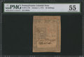 Colonial Notes:Pennsylvania, Pennsylvania October 1, 1773 50s PMG About Uncirculated 55.. ...