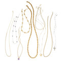 Estate Jewelry:Necklaces, Diamond, Amethyst, Cultured Pearl, Gold Necklaces . ... (Total: 9Items)