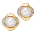 Estate Jewelry:Earrings, Mabe Pearl, Diamond, Gold Earrings. . ... (Total: 2 Items)