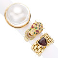 Estate Jewelry:Rings, Diamond, Multi-Stone, Blister Pearl, Gold Rings. ... (Total: 3Items)