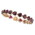Estate Jewelry:Bracelets, Garnet, Gold Bracelet. . ...