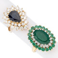 Estate Jewelry:Rings, Sapphire, Emerald, Diamond, Gold Rings. ... (Total: 2 Items)