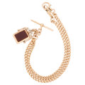 Estate Jewelry:Necklaces, Victorian Hardstone, Pink Gold Watch Chain . . ...