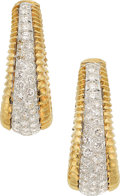 Estate Jewelry:Earrings, Diamond, Platinum, Gold Earrings. ... (Total: 2 Items)
