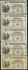 Military Payment Certificates:Series 481, Series 481 10¢ Five Examples.. ... (Total: 5 notes)
