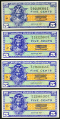 Military Payment Certificates:Series 521, Series 521 5¢ Four Examples Choice New.. ... (Total: 4 notes)