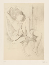 After Balthus (French, 1908-2001) Portrait of a Girl, from the album Dessins Lithograph o