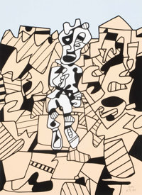 Jean Dubuffet (French, 1901-1985) Territoire et paysan, 1975 Screenprint in colors on Arches paper