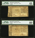 Colonial Notes:Maryland, Maryland April 10, 1774 $2 Two Examples PMG Graded. . ... (Total: 2notes)