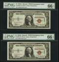 Small Size:World War II Emergency Notes, Fr. 2300 $1 1935A Hawaii Silver Certificates. Two Consecutive Examples. PMG Gem Uncirculated 66 EPQ.. ... (Total: 2 notes)