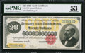 Large Size:Gold Certificates, Fr. 1178 $20 1882 Gold Certificate PMG About Uncirculated 53.. ...