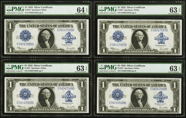 Cut Sheet of Four Fr. 237 $1 1923 Silver Certificate PMG | Lot ...