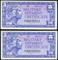 Military Payment Certificates:Series 611, Series 611 5¢ Replacements Two Examples Choice New.. ... (Total: 2 notes)