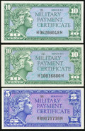 Military Payment Certificates:Series 611, Series 611 5¢; 10¢ (2) Choice New of Better.. ... (Total: 3 notes)