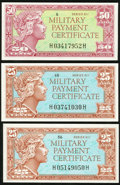 Military Payment Certificates:Series 611, Series 611 25¢ (2); 50¢ Choice New of Better.. ... (Total: 3 notes)
