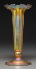 Art Glass:Tiffany , Tiffany Studios Gold Favrile Glass Ribbed Vase with IntaglioButterfly. Circa 1905. Engraved L.C. Tiffany - Favrile,1548...
