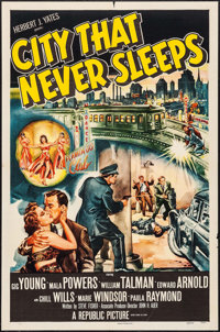 "City That Never Sleeps (Republic, 1953). One Sheet (27"" X 41"") & Lobby Card Set of 8 (11"" X 14"")..."