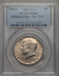 "Kennedy Half Dollars, 1982-P 50C MS65 PCGS. Polished Die - No ""FG"". PCGS Population:(354/243). NGC Census: (100/59). Mintage 10,819,000. ..."