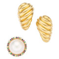 Estate Jewelry:Lots, Multi-Stone, Diamond, Mabe Pearl, Gold Earrings. . ... (Total: 3 Items)