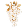 Estate Jewelry:Brooches - Pins, Cultured Pearl, Diamond, Gold Brooch. . ...