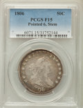 Early Half Dollars: , 1806 50C Pointed 6, Stem, Fine 15 PCGS. PCGS Population: (101/934).NGC Census: (54/736). Mintage 839,576. ...