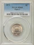 Shield Nickels, 1873 5C Open 3 MS65 PCGS. PCGS Population: (43/9). NGC Census: (45/10). CDN: $1,050 Whsle. Bid for problem-free NGC/PCGS MS...