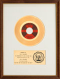 "Music Memorabilia:Awards, Otis Redding ""(Sittin' On) The Dock of the Bay"" RIAA White Mat GoldRecord Sales Award (Volt 45-157, 1968)...."
