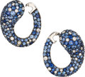 Estate Jewelry:Earrings, Sapphire, Diamond, White Gold Earrings. . ... (Total: 2 Items)