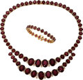 Estate Jewelry:Suites, Garnet, Diamond, Gold Jewelry Suite. ... (Total: 2 Items)