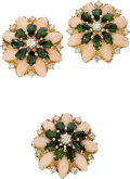 Estate Jewelry:Suites, Coral, Tourmaline, Diamond, Gold Jewelry Suite. . ... (Total: 3Items)