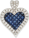 Estate Jewelry:Pendants and Lockets, Sapphire, Diamond, White Gold Pendant. ...