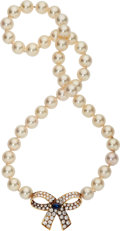 Estate Jewelry:Necklaces, Cultured Pearl, Diamond, Sapphire, Gold Necklace, Van Cleef &Arpels. ...