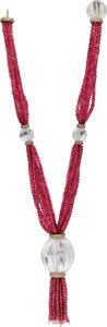 Estate Jewelry:Necklaces, Ruby, Diamond, Rock Crystal Quartz, Gold Necklace, Neiman Marcus....