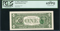 Error Notes:Third Printing on Reverse, Fr. 3000-A $1 2009 Federal Reserve Note. PCGS New 62PPQ.. ...